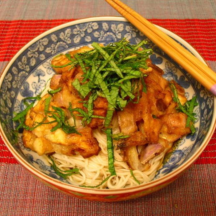 白地に薄青の和柄模様の器に盛られた、なすのかき揚げ冷麺