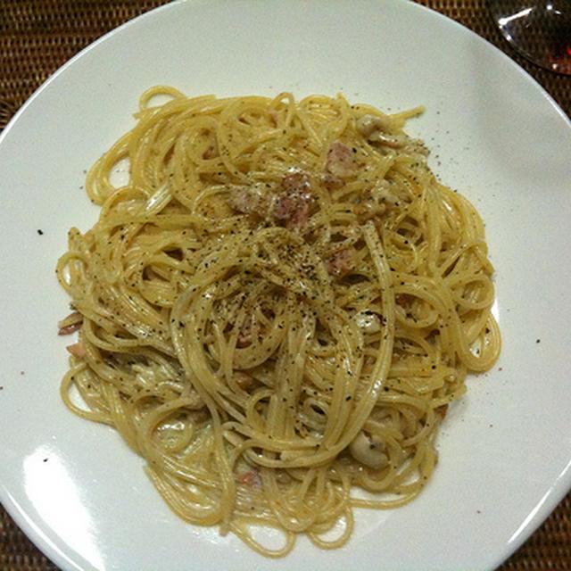 ブルーチーズのスパゲティ&ステーキ@自宅