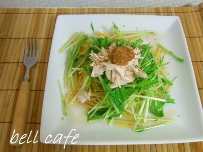 ささみと水菜の冷製梅パスタ
