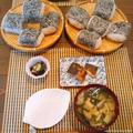 梅干し炊き込みおにぎり塩鯖定食(台風の日はおにぎり!) by にゃあぱんさん