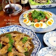 ◆手羽先の黒酢煮と青梗菜のそぼろ餡かけ~ゆるやか糖質制限中♪