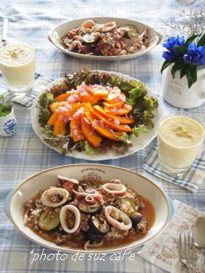 イカと夏野菜のもち麦リゾット de 昼下がりランチ。。。