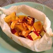 さつまいもとりんごの包み蒸しメープルシロップがけ