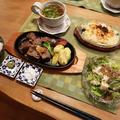 サイコロステーキ&マカロニグラタンの晩ご飯 と カタバミの花♪