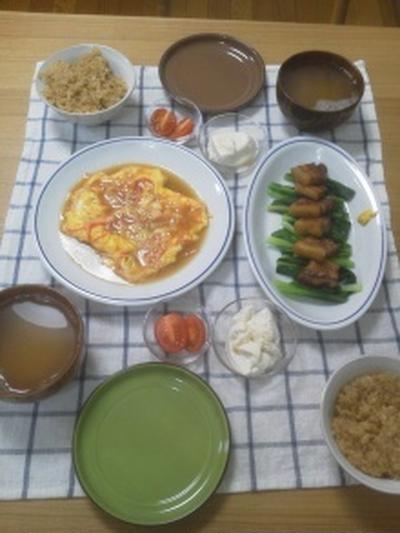 フライパンで手間なし簡単豚の角煮と中華風おこわ。