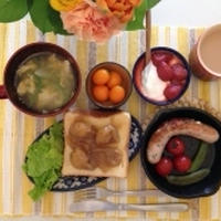 栗トーストと、ソーセージと野菜のグリル*2014年4月2日(水)