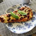 DEL SOLE 手のばしナン で 焼きチーズカレー
