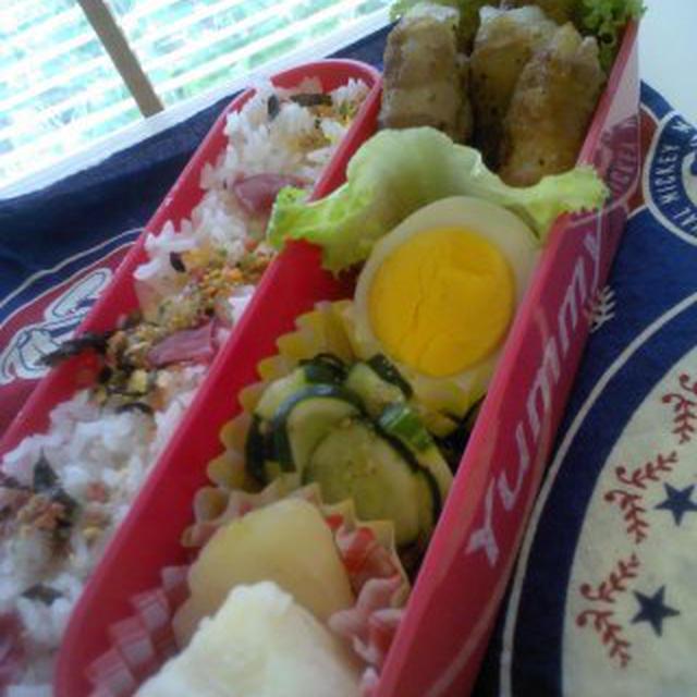 レシピお肉のまきまきポテト弁当