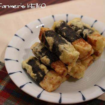 味付けのりを巻いて天ぷら粉をつけて揚げるだけ♪「長芋の磯辺揚げ」