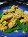 スナップエンドウと海老の卵炒め