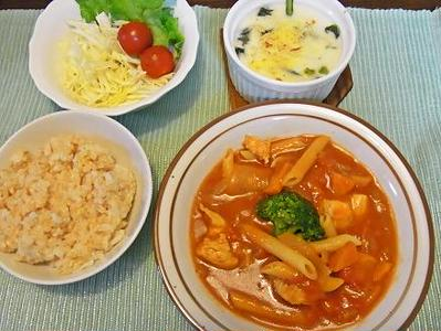 ムネ肉とペンネのトマト煮&NHKが映らない(-_-;)