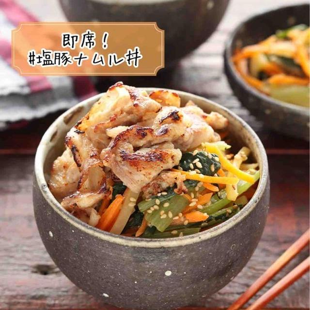 即席!塩豚ナムル丼【#簡単 #時短 #栄養満点 #下味冷凍 #ランチ #やみつき #主食】