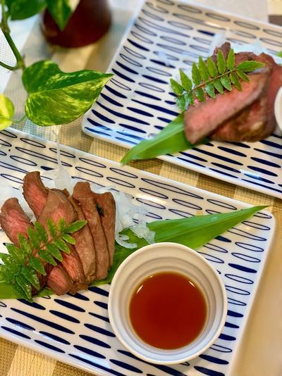夕食にお手軽牛肉のたたき風