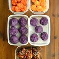 大同電鍋でふかした紫芋と、おせち用作り置き・その④(鰤のごま照り焼き・海老チリ&海老マヨ・紫芋の茶巾絞り)