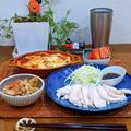 かぼちゃとひき肉のグラタンと今日の手巻き寿司