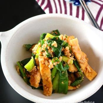 《レシピ》お揚げと青ねぎの肉味噌和え。