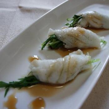 白身魚のレンジ蒸し・中華風