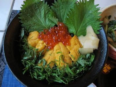 ウニ ・イクラ丼&柿なます