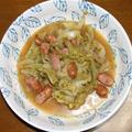 春キャベツとソーセージのマスタード煮&ほうれん草とベビーホタテの炒め物
