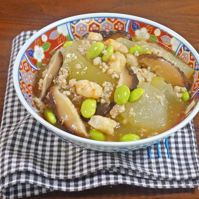 とろとろ冬瓜の海老と枝豆 そぼろあんかけ煮