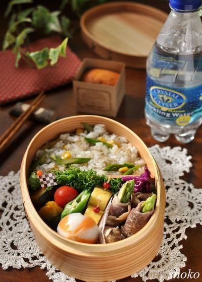 アスパラとエリンギの肉巻きとアスパラご飯のお弁当
