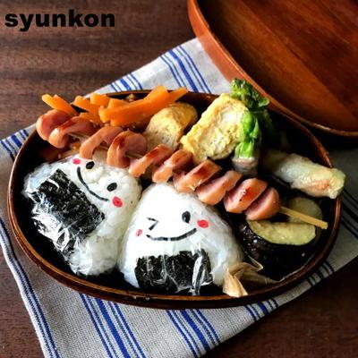【おべんとう】豚肉のアスパラ巻きとグルグルウインナーのお弁当