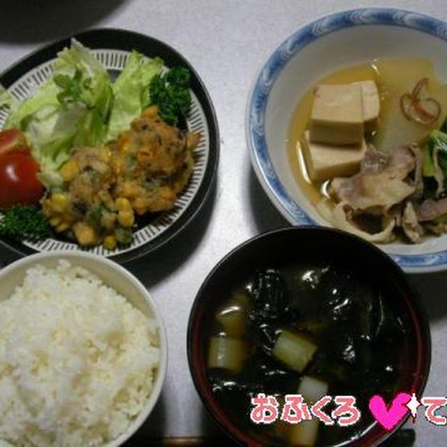 冬瓜と小松菜、豚肉と高野豆腐の煮びたし