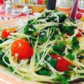 スムージードレッシングでしらすとトマトのペペロンチーノ♡