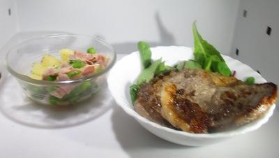 今日の体験とステーキ、アスパラとベーコン、粉ふき芋
