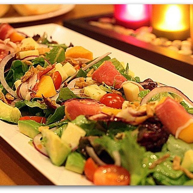 生ハムと柿のサラダ、シトラスヴィネグレット