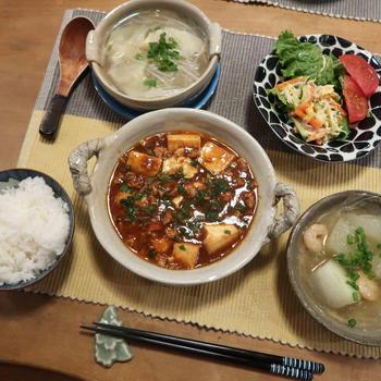 和風麻婆豆腐と冬瓜の海老餡かけの晩ご飯 と 「夏の雪」スノーインサマー♪