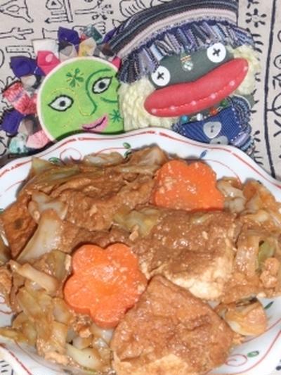 キャベツと厚揚げの梅味噌炒め&さきイカとキュウリの韓国風サラダ(お家カフェ)