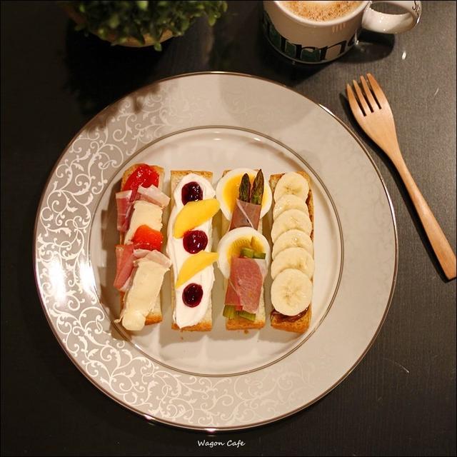 自家製角食で♪ スティックオープンサンドの朝食