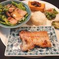 しっかり和食ディナー!☆ 甘鯛の塩焼き+茹で豚の酢味噌和え+揚げだし豆腐+オクラのおひたし