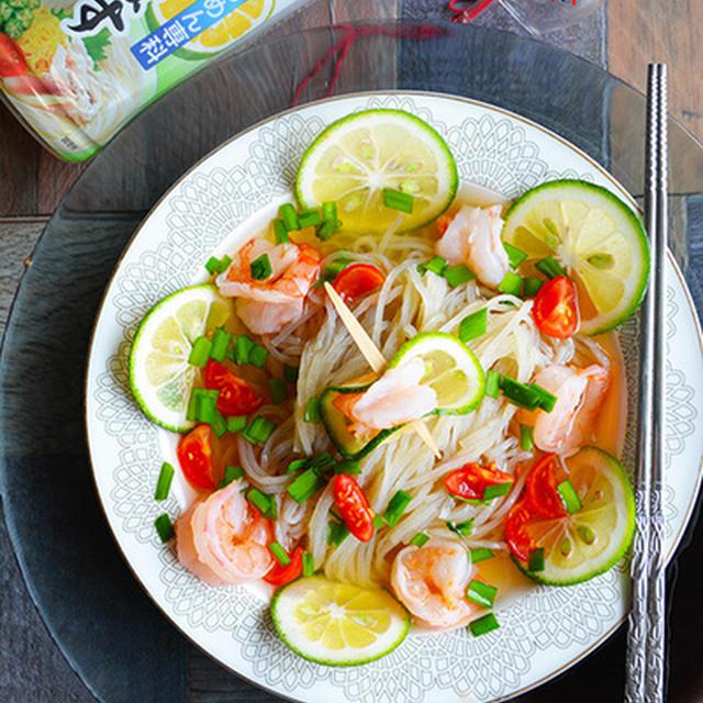 金魚の肴の2015年 猛暑を乗り切るイチオシ夏麺8選 その1 ニラたっぷり塩かぼすエビ冷麺