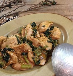 鶏むね肉と小松菜のオイ酢ターソース炒め♡