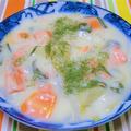 100皿シチュー 57皿目 鮭と根菜のミルクシチュー
