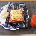 最近このスパイスで食べるのがお気に入り☆ベーコンのピザトースト♪☆♪☆♪