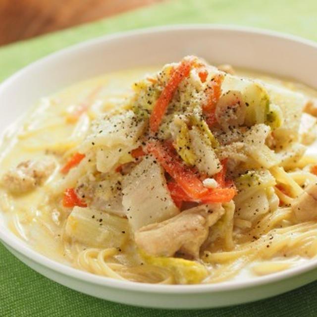 白菜のクリームスープスパゲティ