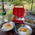 キャンプでクイックTKG(卵かけご飯)