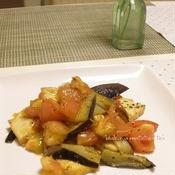 絹揚げと夏野菜のブラックペパー炒め、花椒の風味で