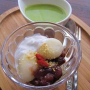 冷た~い☆ココナッツみるくとあずきの、緑茶ぜんざい