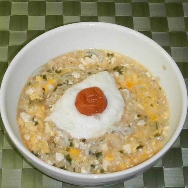 くずし豆腐のわかめおじや(雑炊)
