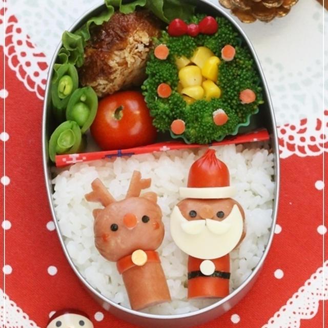 【(ウインナーdeサンタさん&トナカイさんのクリスマス弁当*キャラ弁レシピ)】