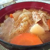 豚肉と残り野菜のお味噌汁