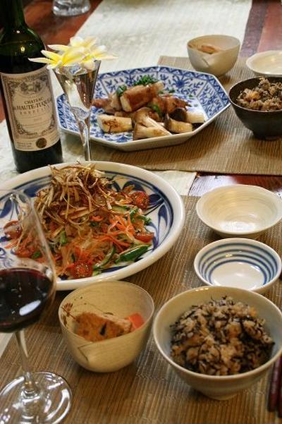 ◆長芋の豚肉巻きバルサミコソース♪~ひじきたっぷりの炊き込みご飯