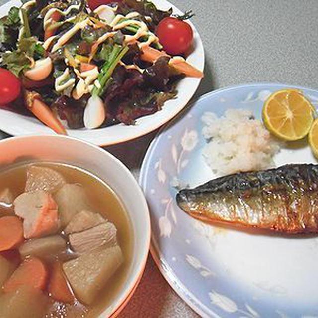 焼き鯖。かに鍋
