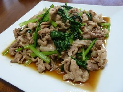 豚肉と小松菜のオイスター炒め♪