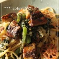 カリッ♪と秋刀魚と春菊のスパゲティ