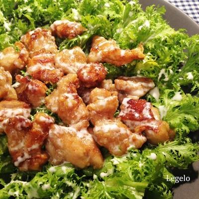 わさび菜と鶏肉の揚げ焼き☆甘タレ&マヨソース♪ 新生活ストレス対策